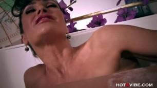 Lisa Ann In black stockings - Hot MILF Orgasms In Bathtub