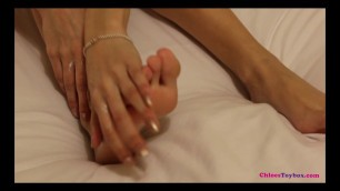 Chloe toy - blonde caresses toes