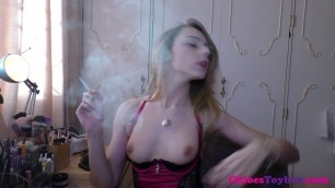 Chloe Toy - beauty smokes on camera