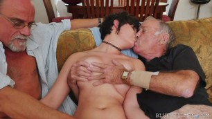 Young Girl Seduces And Fucks With Two Grandpas