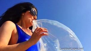 luscious lopez - inflate fetish lusciouslopez beachball inflatables leotard