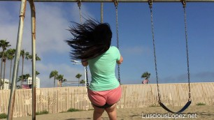 luscious lopez - slow motion big ass in short shorts on a swing