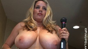 Jana Defi - Nude blonde with a microphone