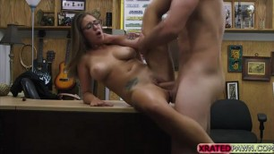 Layla London pretty pussy flashes tits in the pawnshop