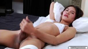 Skinny asian TS masturbates her shecock