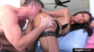 Asian shemale Andrea Zhay ass rides cock