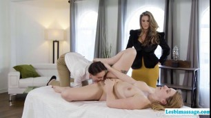Two Horny Auditors have sex with a Hot Masseuse Babe
