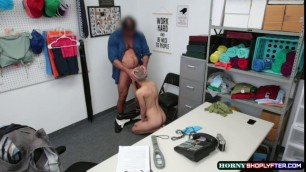 Shoplifter Paris Amour bend over and gets fuck by LP