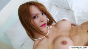 Asian TS Emmy jerks off her hard shecock