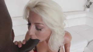 Beautiful Spanish blond cougar interracial anal