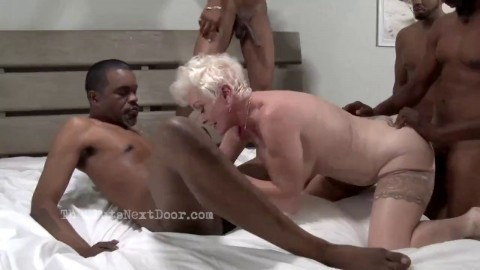 The slut next door, interracial anal, DP