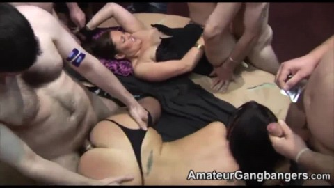Orgy amateur MILFS blow and fuck in group-sex.