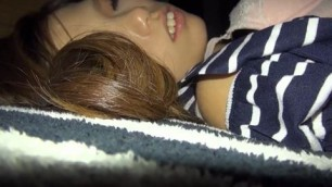 Japanese girl is getting fucked while her boyfriend is watching a game with his friends babes suck cock