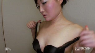 asian whore in stockings sucks dick and fucks with a bear husband