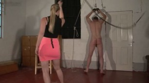 bdsm Hardcore Man whipped CFNM style by sexy ass pussy kinky big boob blonde dominas