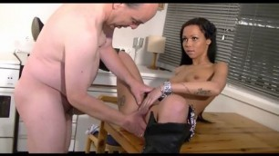 hot sexy brunette juicy tits tattoo girl pounding with older man in the kitchen