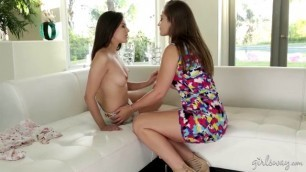 playful lesbo bffs on a couch with two beautiful lesbians with tiny tits