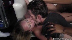 Brooke Wylde cuckolding at the black club cum in mouth