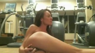 She fucks her own ass at the gym masturbation solo