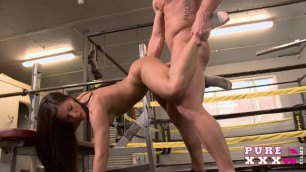 Hard Fucking in the gym Athlete girl and her coach