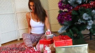 Cute Brunette Lucy Pinder in MERRY CHRISTMAS Photoshoot