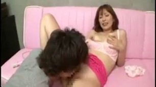 Busty Japanese lady Whitney gets fucked with a dildo and gives