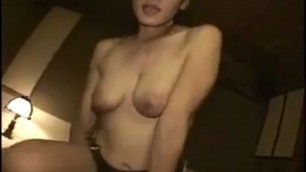 Asian wife with big natural breasts goes crazy for a