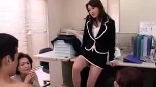 luscious Asian secretaries watch a horny stud strokin