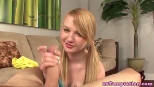 Teen Melanie amateur tugging cock before cumshot