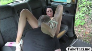 Big natural tits babe Keira fucked in the cab to off her fare