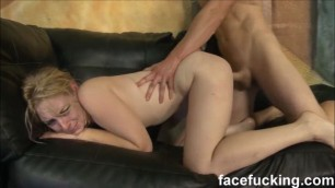 Super cunt Delirious Hunter sucks deep then gets pounded hard at facefucking