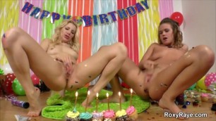 ROXY RAYE AND ASHLEY FIRES PISS OUT THE BIRTHDAY CAKE