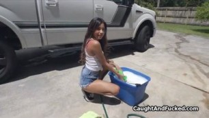 Fucking the cute car wash beautiful chick