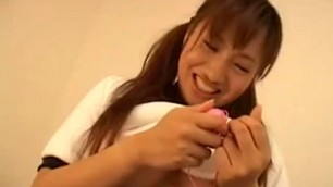 Cute Asian teen Adel gets a new toy she tries at home to get her