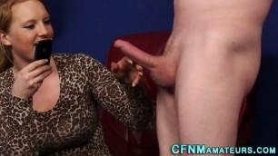 Cfnm redhead tugs cock Masturbates and sucks his dick