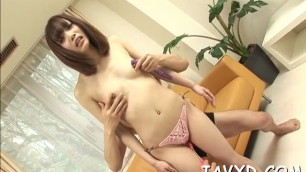 Asian babe Eila plays with chubby rod using her hands and mouth