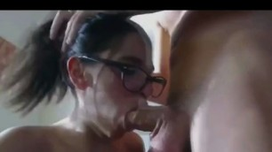Hot brunette Eila deepthroats and gets anal fucked