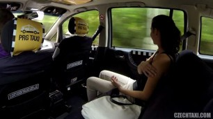 Czech Sweet brunette Girl pays for a taxi sex