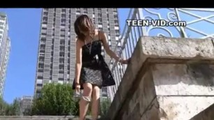 teen upskirt no panties Demonstrates it on the street