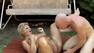 MATURE SEX old Couple Hot Fuck in the Garden SEX