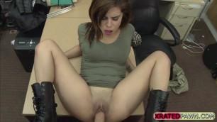 Latina cock sucker Lilith Shayton fucks in the pawnshop