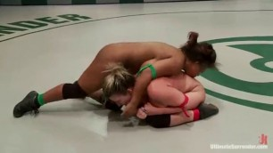 Yasmine Loven dildo Sara Jay with a strap on in a ring